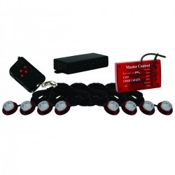 Kit de 8 Spots LED Avec Centrale Stroboscopique VISION X TANTRUM Rouge