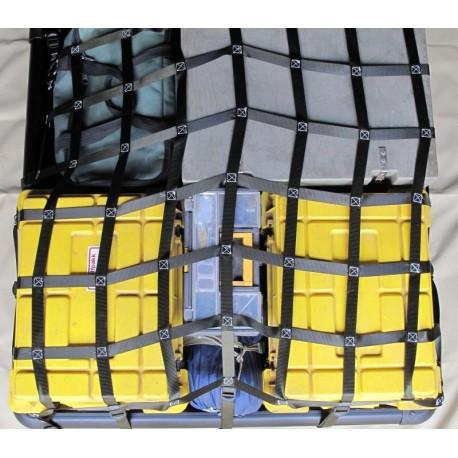 Filet d'arrimage charge lourde SecureTech Cargonet 900x1000 mm avec 14 points d'ancrage par cames à griffes