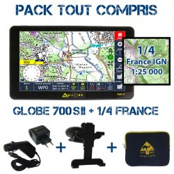 Gps GLOBE 4X4 700SII Pack Tout Compris 1/4 France Sud-Ouest IGN 1:25000 PACK TC 700SII 1/4 SO